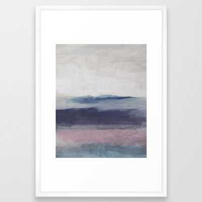Plum Purple Navy Lavender Blue Abstract Painting Wall Art Prints, Ocean Waves Horizon, Modern Wall Framed Art Print - Society6