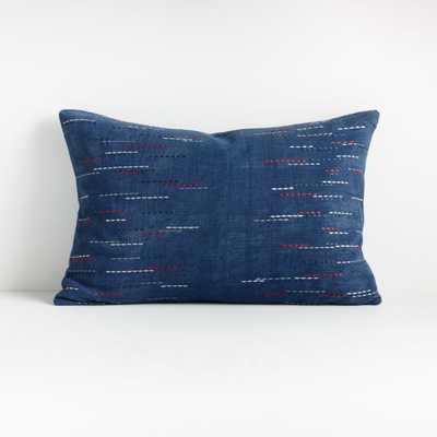 "Hira Blue Lumbar Pillow 22""x15"" -  down alt insert - Crate and Barrel"