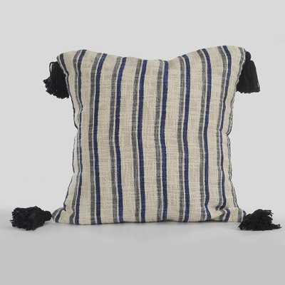 18 in. x 18 in. Contemporary Lines & Stripes Blue / Gray (Blue/Gray) Throw Pillow - Home Depot