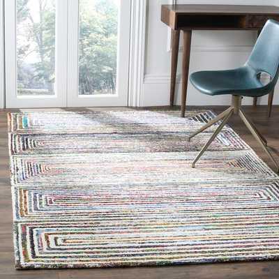 Hand-Tufted Cotton/Wool Pink/Blue/Brown Area Rug, 8'x10' - Wayfair