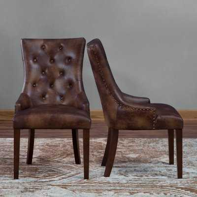 Belham Living Thomas Leather Tufted Dining Chair - Set of 2 - Hayneedle