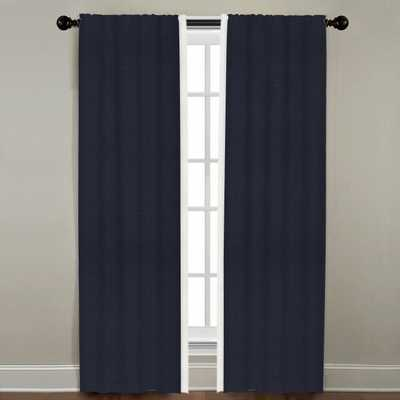 """Linen Border Drapery Single Panel, Ink with Oyster, 96"""" - Havenly Essentials"""