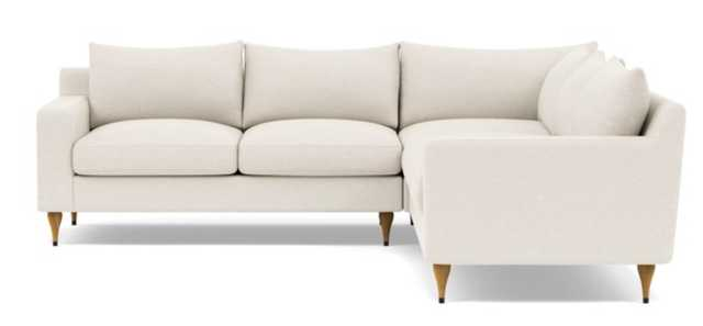 Sloan Deep Corner Sectional with White Cirrus Fabric, standard down blend cushions, and Natural Oak with Antique Cap legs - Interior Define