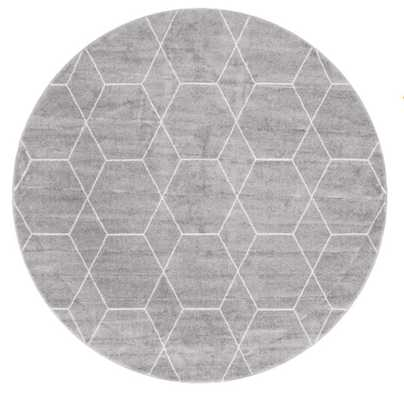 Elborough Gray Area Rug 7' Round - Wayfair