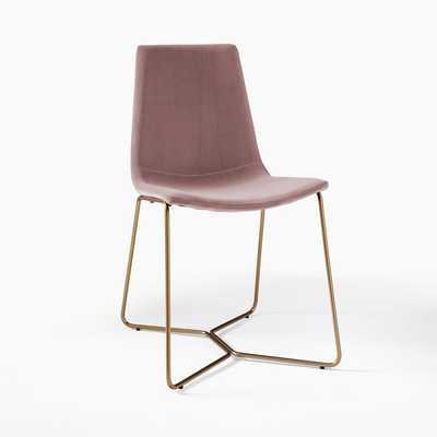 Slope Upholstered Dining Chair, Astor Velvet, Dusty Blush - West Elm
