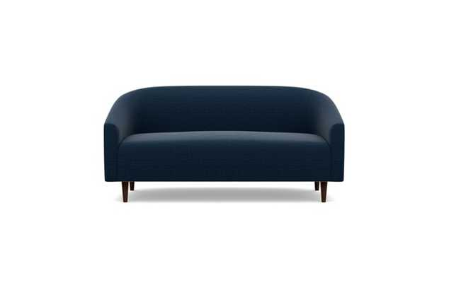 "Tegan Loveseat 60"" in Ocean (plush sateen fabric) with oiled walnut tapered rounded legs - Interior Define"