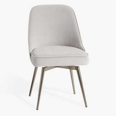 west elm x pbt Mid-Century Desk Swivel Chair, Performance Velvet Gray + Metal Base - Pottery Barn Teen