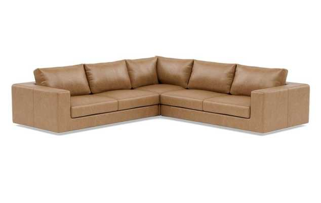 "WALTERS Leather Corner Sectional Sofa // 119""x119"" // Palomino Leather // Standard Cushion Fill - Interior Define"