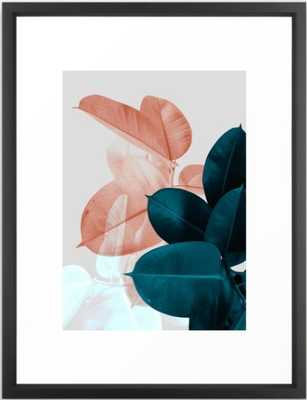 Blush & Blue Leaves Framed Art Print 3,091 by PrintsProject - Society6