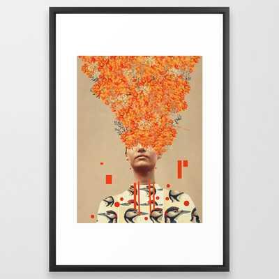 "Bird Flight in Autumn Framed Art Print 26"" x 38"" Vector Black Frame - Society6"