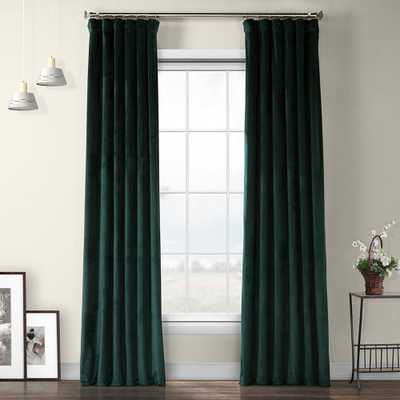 Exclusive Fabrics Heritage Plush Velvet Curtain - 50 X 108 - Forestry Green - Overstock