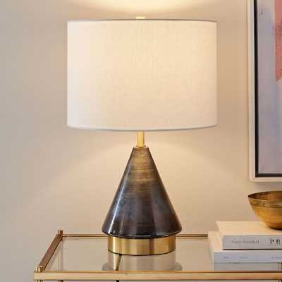 Metalized Glass Table Lamp + USB, Small, Gray-Individual - West Elm