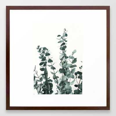 Eucalyptus Leaves Framed Art Print - 22 x 22 - Conservative Walnut Frame - Society6