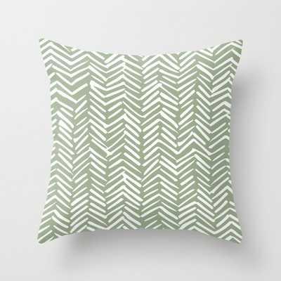 Boho Herringbone Pattern, Sage Green and White Throw Pillow - Society6