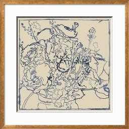 Indigo Floral Sketch I - art.com