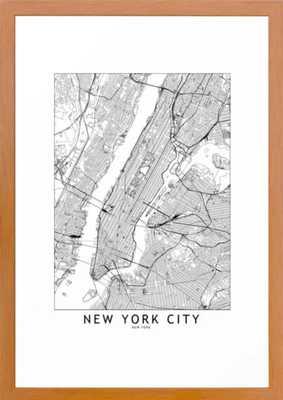 New York City White Map Framed Art Print - Society6