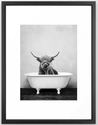 Highland Cow Bathtub Framed Art Print - Society6
