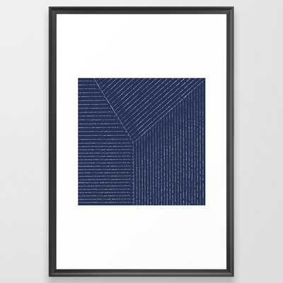 Lines / Navy Framed Art Print - Society6