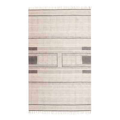 Charcoal Block Print Cotton Emory Area Rug - World Market/Cost Plus