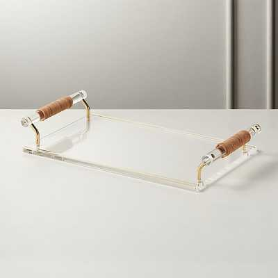 LEATHER HANDLE ACRYLIC TRAY - CB2