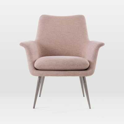 Finley Lounge Chair, Distressed Velvet, Light Pink - West Elm