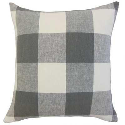 "Amory Plaid Pillow Coal - 18"" x 18"" - Down Insert - Linen & Seam"