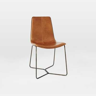 Slope Leather Dining Chair, Saddle Leather, Nut, Charcoal Leg - West Elm