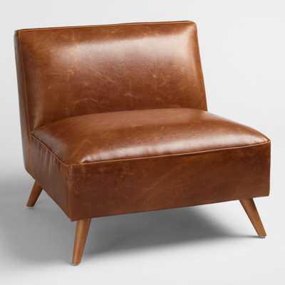 Cognac Bi Cast Leather Huxley Chair: Brown by World Market - World Market/Cost Plus
