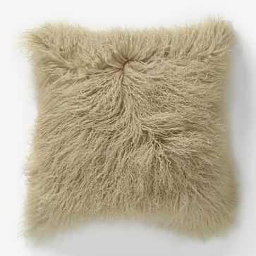 "Mongolian Lamb Pillow Cover, 16""x16"" Pebble - West Elm"