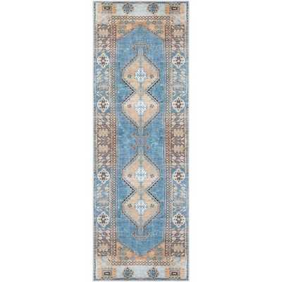 "Zola Runner, 2'7""x 7'3"", Bright Blue - Roam Common"
