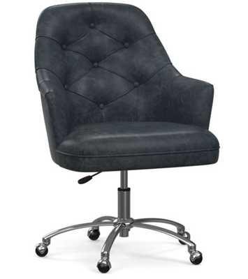 Everett Leather Desk Chair, Statesville Indigo Blue - Pottery Barn