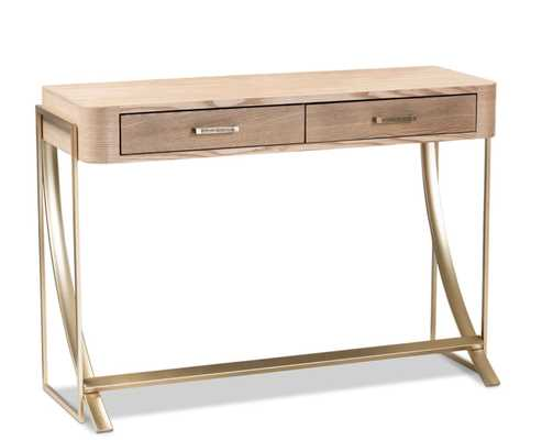 BAXTON STUDIO LAFOY MODERN AND CONTEMPORARY NATURAL BROWN FINISHED WOOD AND GOLD FINISHED 2-DRAWER CONSOLE TABLE - Lark Interiors