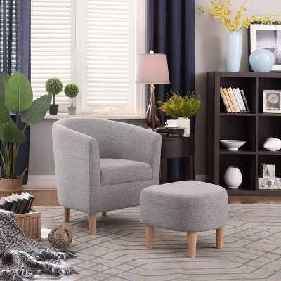 Latitude Run Modern Accent Chair Upholstered Comfy Arm Chair Linen Fabric Single Sofa Chair With Ottoman Foot Rest Grey - Wayfair