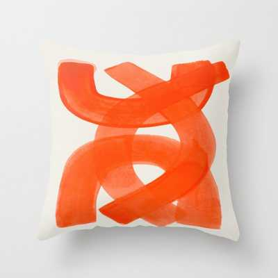Mid Century Modern Abstract Painting Orange Watercolor Brush Strokes Throw Pillow - Society6