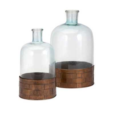 TY Cowboy Glass and Metal Jugs - Set of 2 - Mercer Collection