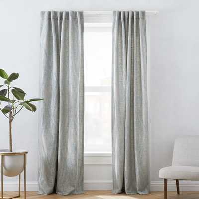 "Bark Texture Jacquard Curtain, Dusty Blue, 48""x96"" - West Elm"