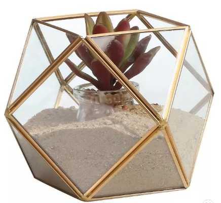 "5.2"" Polyhedral Shaped Glass Terrarium Clear/Brass - Danya B. - Target"