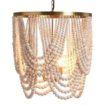 Large Whitewash Wood Draped Bead 4 Light Chandelier - World Market/Cost Plus