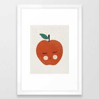 Apple Fruit, Abstract, Mid century modern kids wall art, Nursery room Framed Art Print - Society6