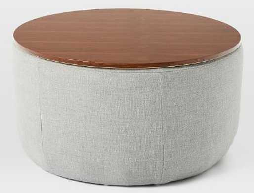 Upholstered Storage Base Ottoman Large-Linen Weave Platinum - West Elm