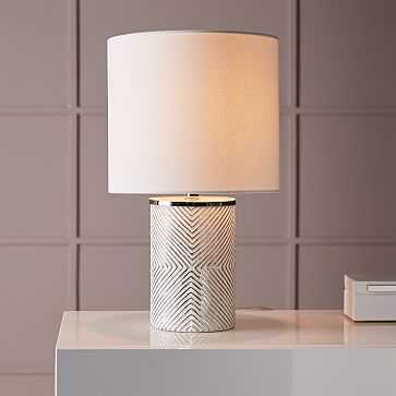 Deco Glass Table Lamp, Short, Silver/White Linen - West Elm