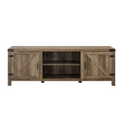 Walker Edison Furniture Company 70 in. Rustic Oak Barn Door TV stand with Side Doors - Home Depot