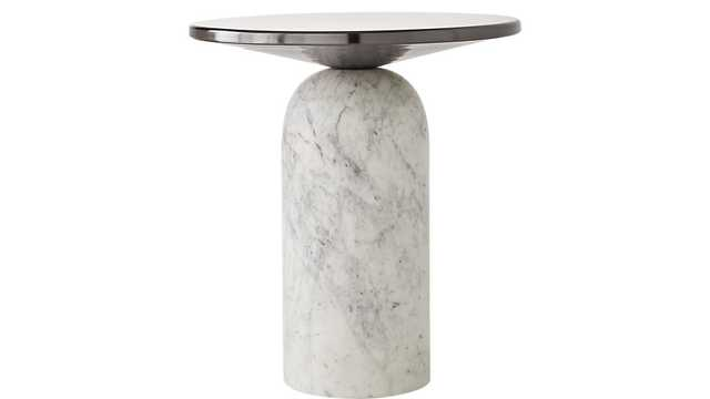 MARTINI SIDE TABLE WITH WHITE MARBLE BASE - CB2