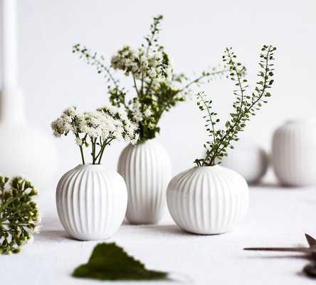 Kahler Hammershi Miniature Vases, White, S/3 - Pottery Barn