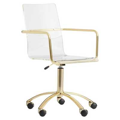 Gold Paige Acrylic Swivel Desk Chair - Pottery Barn Teen
