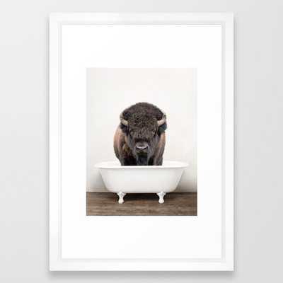 Buffalo in a Vintage Bathtub (c) Framed Art Print 15x21 Vector White - Society6