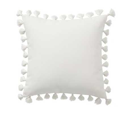 "Tassle Trim Indoor Outdoor Pillow, 18 x 18"", Natural - Pottery Barn"