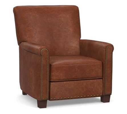 Irving Leather Recliner, Bronze Nailheads, Polyester Wrapped Cushions, Statesville Molasses (See Swatch) - Pottery Barn