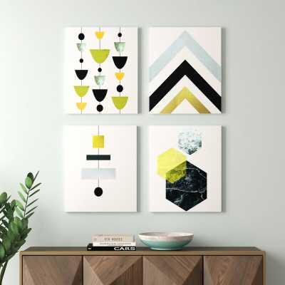 'Geometric Abstract' Gallery Wall Set on Canvas - Wayfair