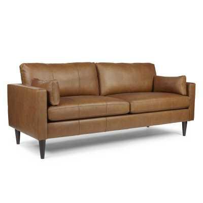 "Cayenna Genuine Leather 81"" Square Arm Sofa - Wayfair"